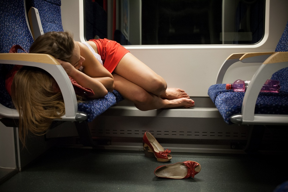 Candid pantyhose in tram 570 - 2 1