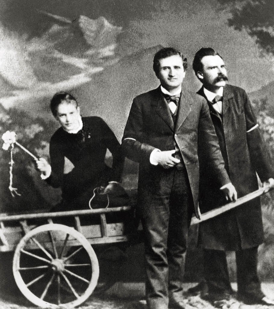 Lou Andreas Salomé with poet Paul Rée and Friedrich Nietzsche