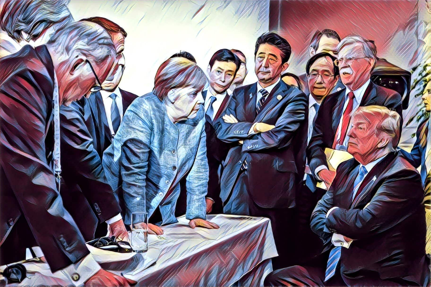 G7-confrontation-Trump-Bolton-Merkel-Macron