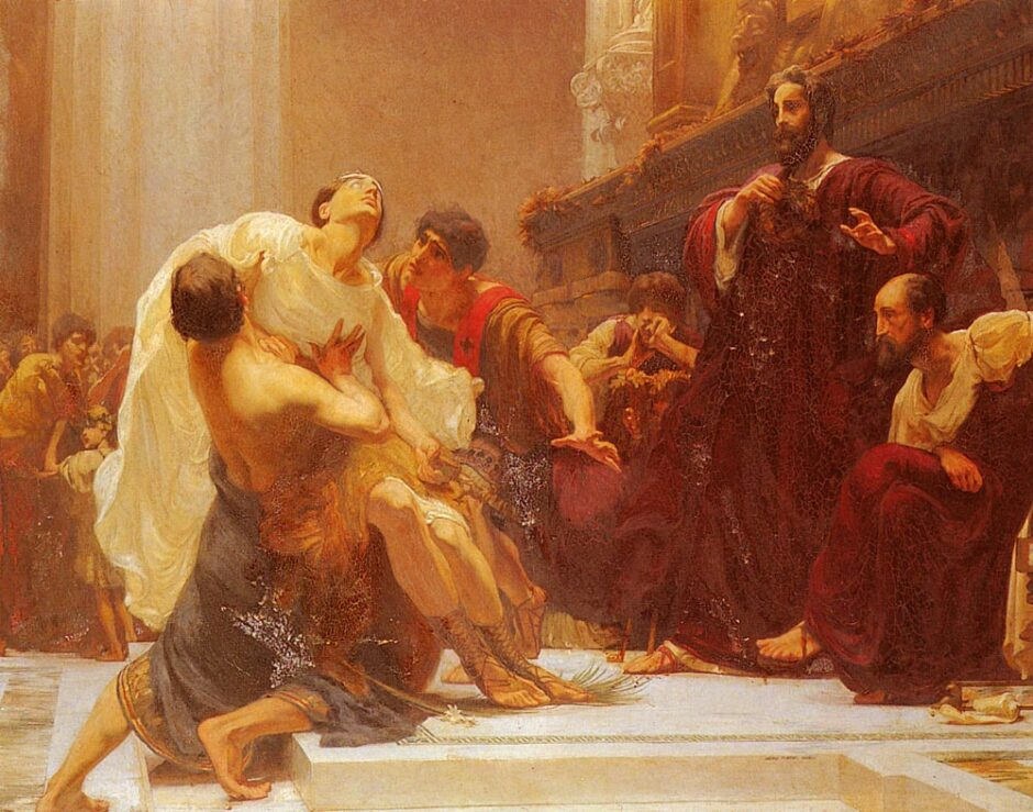 Painting - The Death of Ladas, The Greek Runner, Who Died When Receiving The Crown Of Victory In The Temple Of Olympia. George Murray, 1899.